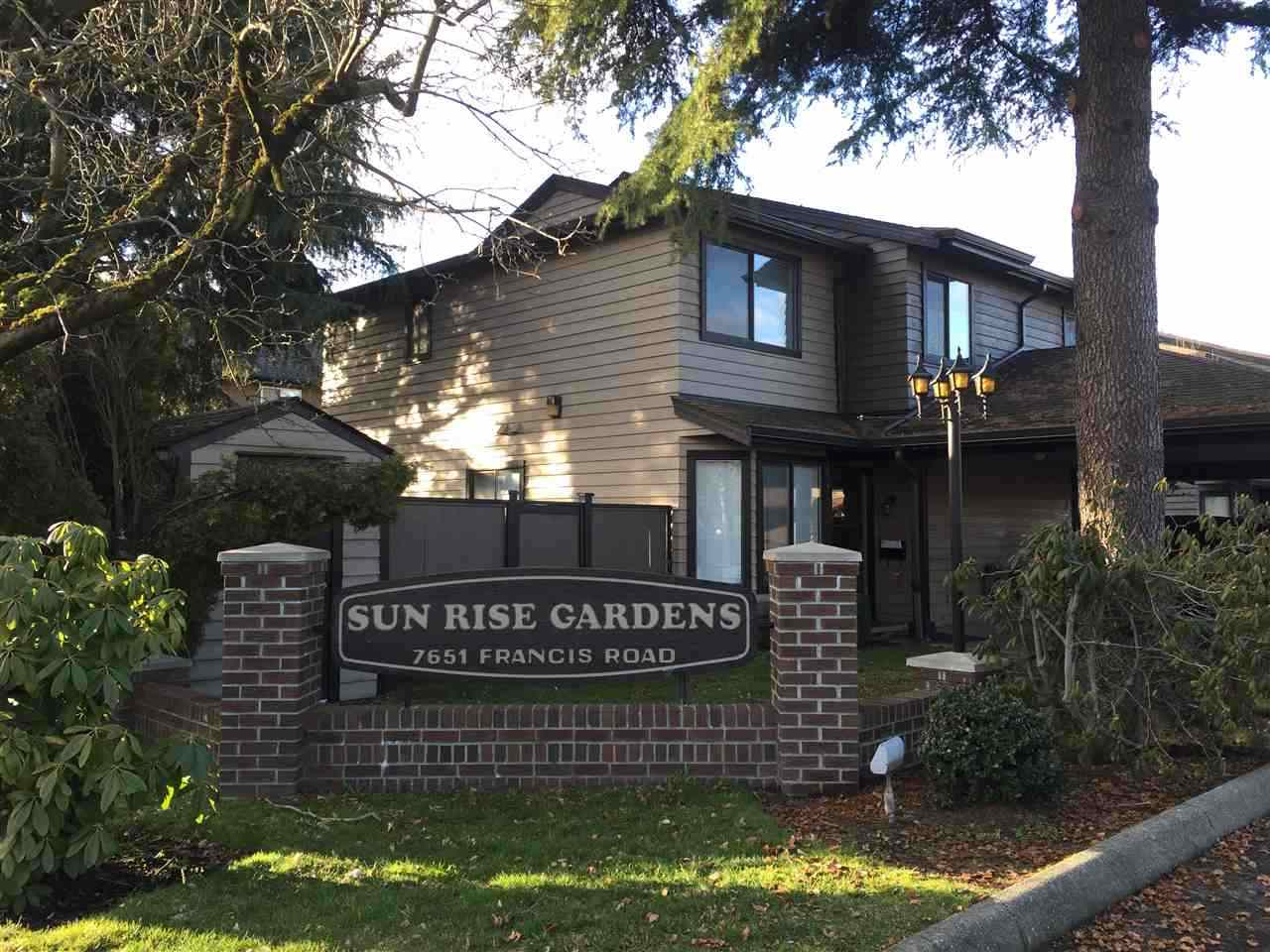 Welcome to Sunrise Gardens, a well run complex near Francis & No.3 Rd. Two-level townhouse, corner unit with N/E/S exposures. 1,334 sq ft, 3 bdrm, 2.5 baths and 2 parking spots. Immaculate & extensive renovations include: Brand new kitchen with stunning cabinets, granite counter-tops and stainless steel appliances. High performance laminate floor both on main and upper floor. Tastefully designed bathrooms. New spot lights and freshly interior paint with modern color. Living room has sliding door that leads to an extra large south facing and fully fenced backyard. Kitchen with spacious and relaxing eating area. Close to Broadmoor Mall, Community Centre and public transit. Ferris Elementary and Richmond Secondary. Strata fee includes City utilities. Call now and act fast!