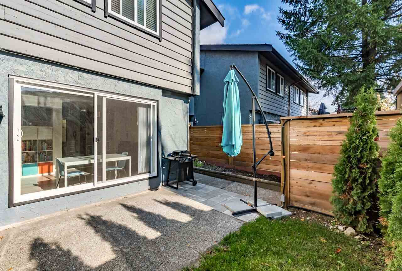 Newly renovated, well laid out two level townhouse gives you a spacious feel, containing 3 bedrooms and 1.5 bathrooms. Near schools, public transportation, walking distance to Blue Mountain park and amenities, and Lougheed Mall shopping Center just minutes away. Enjoy living on the quiet, south side of a small family oriented complex with a private patio and fenced yard(new fence). Kitchen equiped with new stainless applicances ,quartz counter top. You will have the convenience of a washer & dryer located on the main floor, as well as a walk-in storage under the stairs. The master bedroom is spacious with a full wall closet as well as shelving in all bedrooms. The home contains double paned windows, both bathroom has Italian tiles installed. This is the home you have been waiting for!