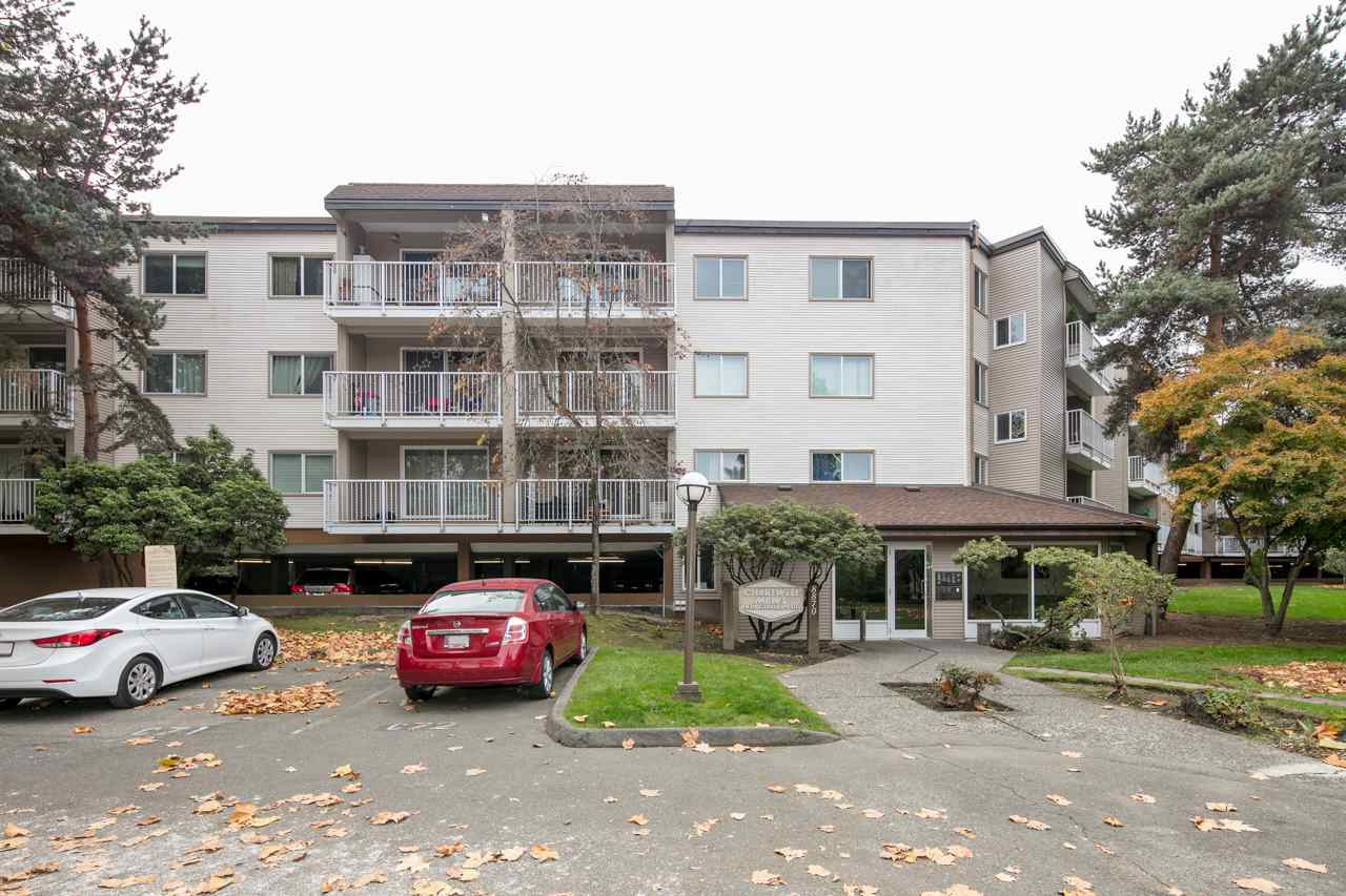 1 bedroom and 1 bath unit in popular Chartwell Mews! Updates to the unit include: cherry wood HARDWOOD floors in 2006, updated kitchen and bathroom cabinets and quartz counters in 2017. The building is in great shape and upgrades include: re-piped in 2004, new roof in 2011, windows, patio doors, balcony refinishing, railings and siding in 2013. Common areas have been updated with new carpet and paint as well. Amenities include dry sauna room, swirl pool, outdoor swimming pool, basketball court, lounge, table tennis and pool tables, library, and a kiddie corner. Close to Cook Elementary and McNeill Secondary.