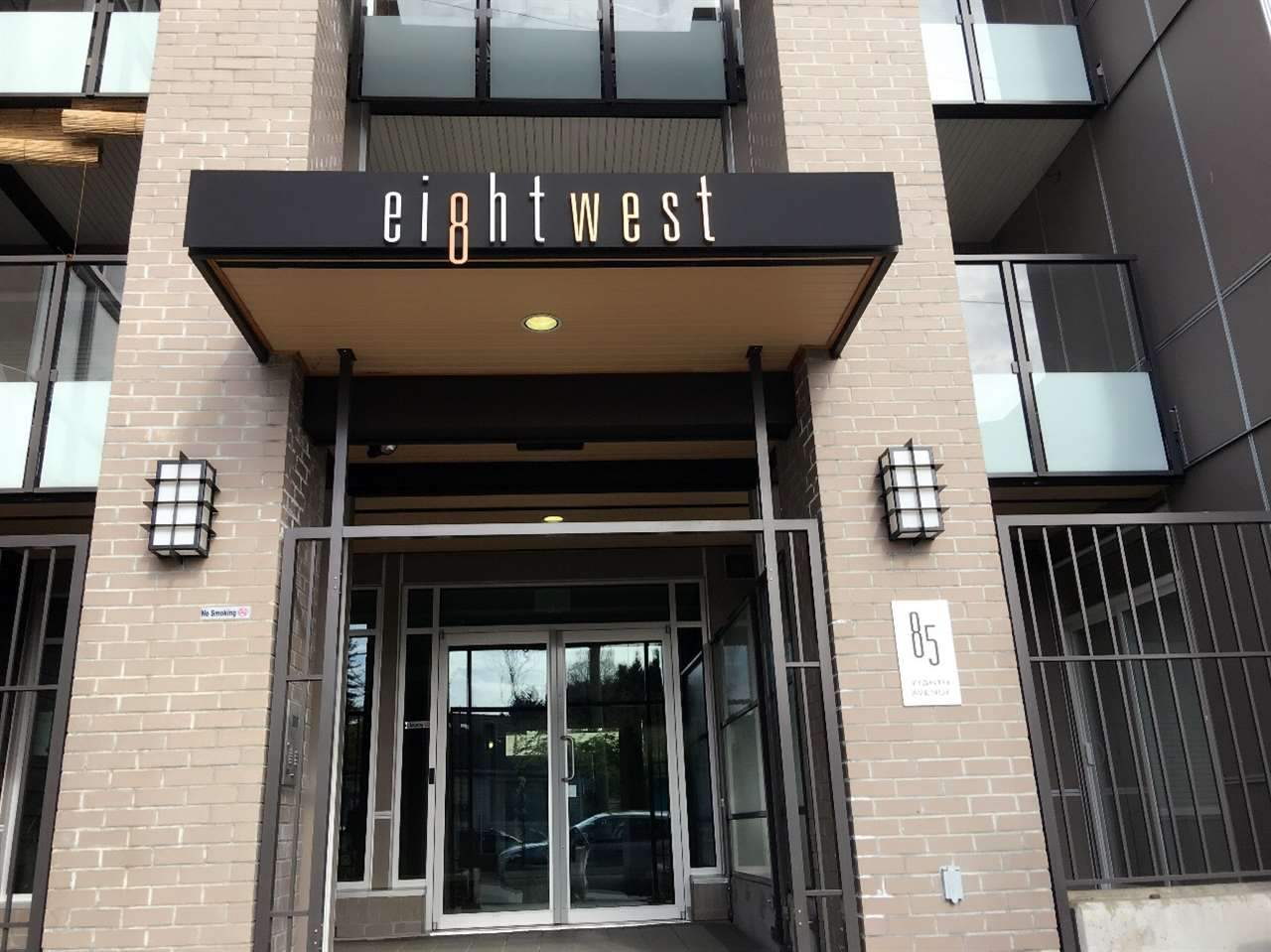 Move in condition south facing 651 sq ft. 1 bedroom + den (big enough for 2nd bedroom) bright & spacious layout at 8 West features a separate entrance off the street for a townhouse feel, covered good size patio, granite countertops, stainless steel appliances, beveled edge laminate floors, large kitchen island & so much more. Located in the heart of New Westminster's luxurious Glenbrook North neighbourhood; amenities within walking distance includes Safeway, Starbucks, Queen's Park Arena, Canada Games Pool & more! This sought after 8 West Development was built in 2013 & comes with balance of New Home 2-5-10 warranty. Extra large handicap Parking stall and big size locker