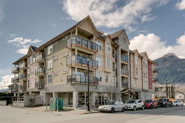 """Excellent top floor one bedroom condo with views to """"The Chief"""" and beyond. A well laid out 658 sq ft this home has a nice sized bedroom with walk-in closet open concept living space and well appointed kitchen. Relax and enjoy the proximity to restaurants and all that Downtown Squamish has to offer.The Mountaineer is a compact well run strata for stress-free living. Some other great features include, spacious bathroom, In-suite Laundry, granite counters, laminate flooring, modern appliances, same floor storage, bike room, and secured parking. This is fabulous home or investment for the future. Rentals okay."""