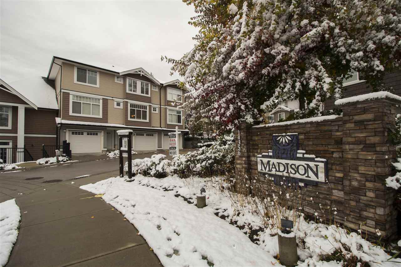 """""""Madison By Lakewood"""" at 64th and 144th St. This stunning 3 bed/ 3 bath townhouse is located in a wonderful neighborhood. It features a bright, spacious and open floor plan. The gourmet kitchen features Granite counters, stainless steel appliances, beautiful cabinetry, island counter and separate dining area plus a cozy living room with a warm fireplace. Walkout from the family room to the private relaxing patio. The stunning d�cor of the house, spacious rooms, gleaming laminate floors, custom & expensive light fixtures is just worth seeing. Centrally located, close to strip mall, Bell Centre, schools and transit. Open House Nov 12, Sun 2 to 4pm"""