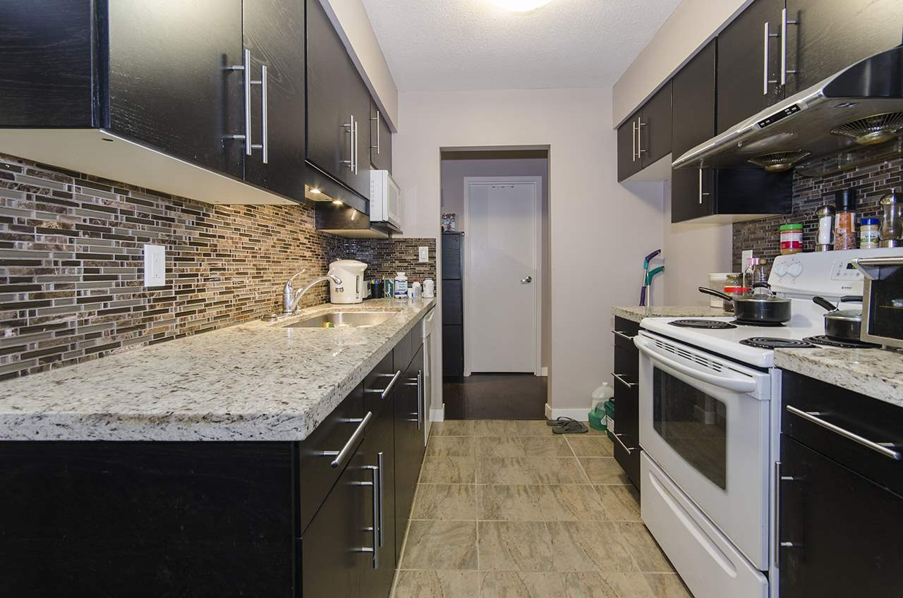 Welcome to Brent Gardens, built by renowned Bosa. This spacious, fully renovated 2 bedroom unit offers newly updated kitchen with granite countertops, newer appliances, laminate floors, baseboard, lighting and more. Huge covered balcony,  perfect for entertaining is accessible from every room. Located on the quiet side of the complex, offering privacy and peace. Building is fully rain screened with warranty, updated roof, balconies, sliding doors and windows. Amenities include, a clubhouse, tennis courts and community garden. Centrally located, just steps away from Brentwood Mall, Skytrain, schools, restaurants and more!