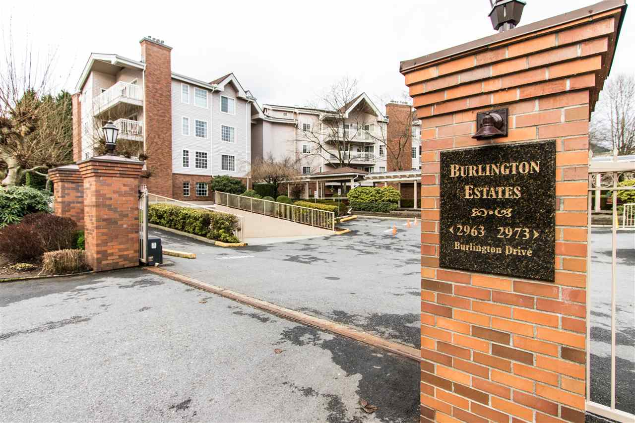 TOP FLOOR 2 BEDROOM CORNER UNIT of almost 1100 sqft in Burlington Estates, a 55+, conveniently located strata, only minutes to Coquitlam Centre, skytrain, Aquatic centre and almost everything else! Great layout includes large living room w/ cozy gas fireplace, spacious oak kitchen w/ plenty of storage incl large pantry and huge pass-through to the dining area. Mbdrm w/ full walk-through closet to the 4 pc ensuite incl a dual vanity and soaker tub. 3 pc main bath includes a stand-up shower stall. Fully covered deck approximately 20' long for enjoying morning coffee, with access from the bedrooms and the living room. North-facing unit avoids the hot summer sun! Beautifully landscaped grounds, and secure underground parking. Pets allowed w/ restrictions! The complete package!!! Open House Saturday Dec 9 1-3pm.
