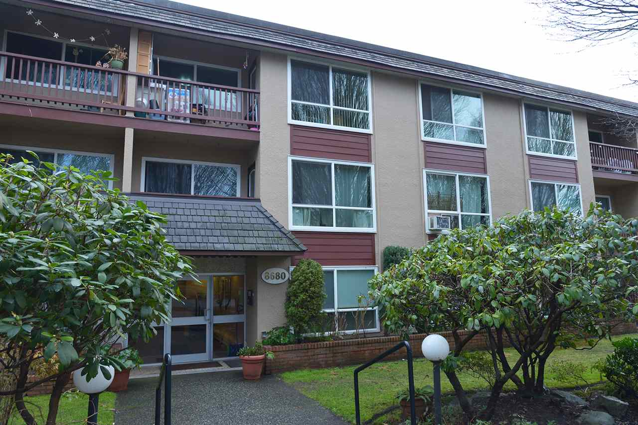 East facing, spacious condo located in the quiet street in Marpole area. Well maintained, updated double thermo windows. Minutes to shopping center and bus line. Very nice school catchment: Laurier Elementary and Churchill Secondary. Big closet. Underground parking and locker. Open House on Saturday and Sunday at 2-4pm.