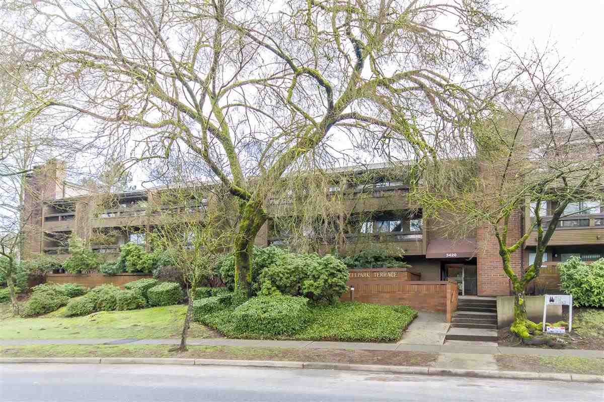 """Investor's Alert: :RENTALS ALLOWED"""". East facing quiet corner unit at Bell Park Terraces. This 960 SQFT large unit features 2 bdrms, 2 full baths, laminate flooring, wood burning fireplace. Balcony overlooking the quiet, treed courtyard & gardens. Centrally located. Close to Skytrain station, Lougheed shopping mall, Cameron rec centre & schools. Very accessible to SFU & Downtown. Heat & Hot Water is included in the maintenance fee. Well maintained building with new roof, new balconies, new fences & skylights. Secure underground parking, storage locker and in-suite laundry! Rentals allowed. Pets: 2."""
