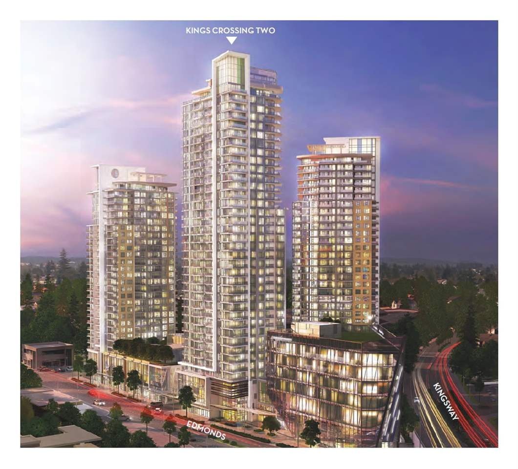 """Kings Crossing TWO by Cressey - $10,000 CREDIT on Completion. Brand NEW Air Conditioned Concrete LARGE 650sf 1 Bedroom + DEN. Everything within walking distance: SkyTrain, Grocery Store, Community Centre, Parks and Public library etc. It's an integrated urban community comprised of three unique residential towers, linked by an elevated landscaped courtyard w/ multipurpose gym & squash court, Steam & Sauna, Outdoor Fireplaces and Big Screen Amphitheatre, Multimedia Lounge & Game room. Concierge Service offer Convenience & Security. Featuring Famous Cressey Kitchen w/ """"chef's wall"""" which integrates TWO fridges, a Dual freezer & plenty of storage, European Appliances. ONE Parking & Locker. 1 Yr FREE Internet & TV. ASSIGNMENT OF CONTRACT. Completion 2019. Please CALL now and this WON'T LAST."""