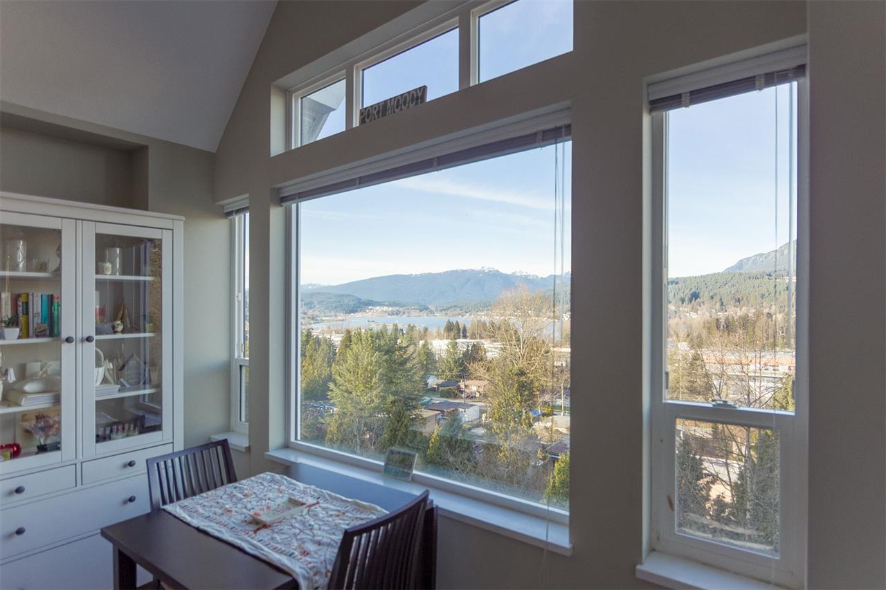 ACCEPTED OFFER: Subject removal by 11:59 PM, Monday, Feb 26th.  Gorgeous top floor suite with a magnificent unobstructed view of the Inlet and the North Shore Mountains. Large master bedroom with walk-in closet. Vaulted ceiling on this top floor home. Balcony with BBQs allowed. Bonus, this unit comes with 2 parking stalls, lots of no-hassle visitor parking, car wash bay, and large storage locker. 10/12 rentals allowed (2 rentals free). Commuters' dream, less than a 10min walk to the Evergreen Line (Moody Centre, which takes 44min to Waterfront Station) and West Coast Express (which takes just 25min to Waterfront). Just up the hill from a neighbourhood park, as well as Rocky Point Park. Walking distance to Newport Village, and many close shops and dinner locations.