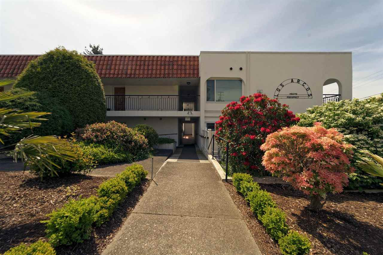 Welcome to Los Arcos, a great building in a fantastic location with ocean views. This ground level condo allows fantastic easy access and is close to all kinds of shopping, restuarants, the beach and plenty of public transit. With a few updates, large bedroom and very spacious dining and living room, it is ready to be called home. Dont wait to come take a look at this fantastic opportunity for downtown Whiterock living.