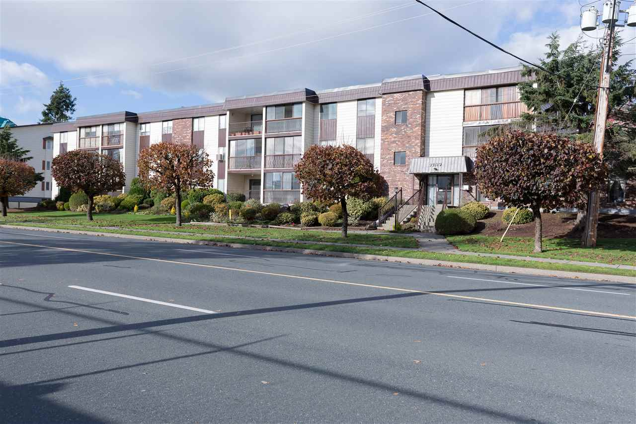 Need affordable? Here it is at Yale Manor in Central Abbotsford under $200 K! Warm and Inviting 2 Bedroom & 1 Bathroom 930 Sq Ft Unit located on the 1st Floor (not ground level) that's well maintained with some updates! As you enter you'll notice there is lot's of space with a dedicated storage room, in-suite side by side laundry, 2 spacious bedrooms, a well equipped kitchen and a functional living space adjoining to your enclosed balcony with a view to the community garden - ultimate privacy! One parking underground and building is 45 + age restricted with no pets or rentals allowed. New roof in May of 2015. Well run complex and strata fees include your heat, hot water, management and garbage. Enjoy peace & quiet here all while being close to shopping, recreation, transit and more!