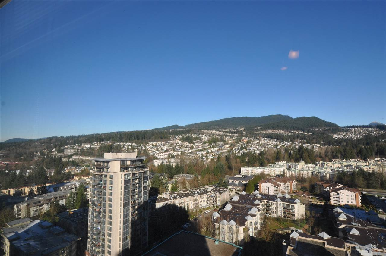 What a great home!! Pleasure to offer beautiful condo GRAND CENTRAL. AMAZING VIEW of the mountain and city with North West exposure. 868 SF, 2 bdrm, 2 bath on 26th floor. Practical open floor plan & private corner unit on the quiet side of the building. Contemporary style, very well maintained & excellent condition w/ laminate flooring, granite counter tops, S/S appliances, and gas stove. 1 Parking, 1 locker included & covered patio for BBQ's all year round, Amenities include outdoor pool, gym, clubhouse, play ground. Walking distance to Coquitlam Center Mall, steps to Evergreen Skytrain Station, library, aquatic center, Douglas College, Pinetree Secondary School, restaurants. This building has it all !!! It's absolutely great condition, perfect location. BEST PRICE YOU WILL FIND !!!