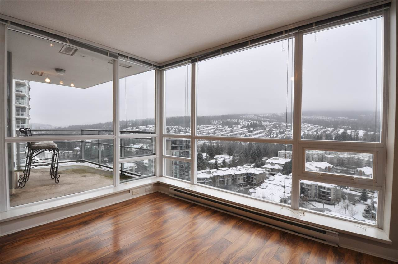 What a great home!! Pleasure to offer beautiful condo GRAND CENTRAL. AMAZING VIEW of the mountain and city with North West exposure. 868 SF, 2 bdrm, 2 bath on 26th floor. Practical open floor plan & private corner unit on the quiet side of the building. Contemporary style, very well maintained & excellent condition w/ laminate flooring, granite counter tops, S/S appliances, and gas stove. 1 Parking, 1 locker included & covered patio for BBQ's all year round, Amenities include outdoor pool, gym, clubhouse, play ground. Walking distance to Coquitlam Center Mall, steps to Evergreen Skytrain Station, library, aquatic center, Douglas College, Pinetree Secondary School, restaurants. This building has it all !!! It's absolutely great condition, perfect location. Open House Mar 9 (Sat) 2~4Pm