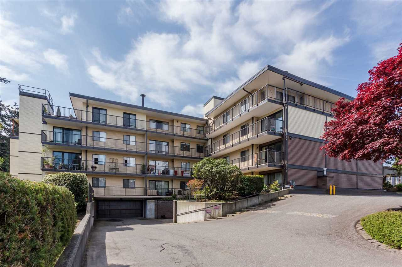 GREAT BUILDING GREAT LOCATION - Extensive updates to this building and excellent strata leadership makes this a fantastic choice. Ideal for young couples, professionals or retirees. Spacious 2 bedroom 1 bathroom 958 sq ft 3rd floor unit with south exposure. Mega bright south facing deck new vinyl new railing. Buildings boasts updated common room and lobby, new fire panel and hot water system. New soffits, roof, with downspouts, ventilation upgrade, fresh exterior siding, LED perimeter lights. Current owner has enjoyed 33 years of quality living in this centrally located home near library, shops, Dr.s, churches and commuter corridors. 30+ age restriction, no pets, no rents. Easy to show and quick possession is possible.