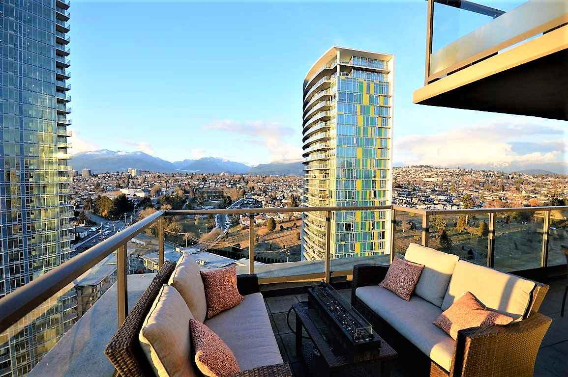 ENTERTAIN all of your guests with the 180 degree CITY AND MOUNTAIN VIEWS from the amazing sized 600 SqFt DECK at this SUB-PENTHOUSE, 2 bedroom + Den unit at Marquis Grande! With over 1200 sq ft this unit offers hardwood floors, stainless steel appliances, granite countertops and a HUGE kitchen island. You are going to love this very bright and very OPEN FLOOR PLAN. Master bedroom is large and spacious with a 5 PIECE ENSUITE ! This unit also comes with 2 TANDEM PARKING STALLS FITTING 4 CARS! Located in the flourishing community of Brentwood's Town Centre, situated only 2 blocks from the Gilmore Skytrain Station & just minutes away to access Highway 1. Come have your breath taken away today. OPEN HOUSE: SUN, APRIL 28, 2 -4 PM