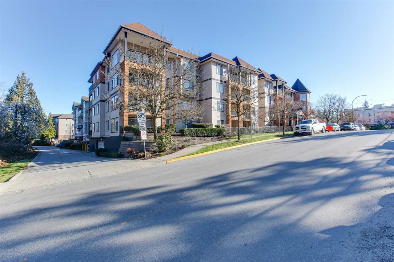 Downsizers and first time buyers look no further. This bright 2 bedroom and 1 bathroom unit is in a healthy, well maintained building located blocks away from DT Maple Ridge where there is all the shopping and recreation at your finger tips. The unit is freshly painted, offers in suite laundry and gas fireplace. Low maintenance fee includes hot water and gas! Located just off 224 st, the 850 sqft condo has a spacious south facing covered private patio for entertaining or gardening. Public transit is less then 1 block away and the West Coast Express to Vancouver is approx a 20 min. walk or a 6 min. drive. Elementary and Secondary schools are just around the corner. Maple Ridge Leisure Centre and the public library is going through a full renovation and completes soon!OpenHouse June 9th 2-4pm