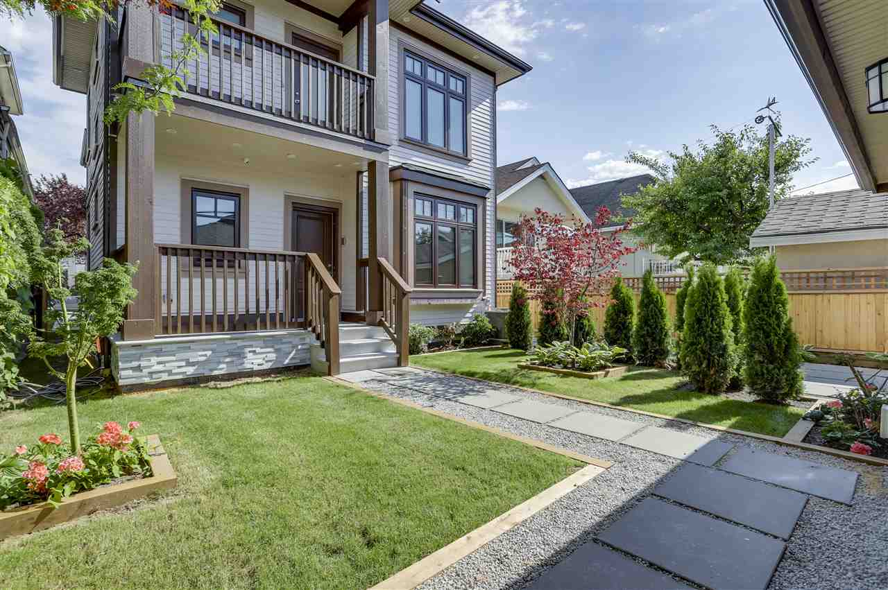 **FIRST TIME HOME BUYER**NO GST! MOVE-IN READY! New Custom 2 - level Duplex of 1,100 sq ft this Back 1/2 Duplex South facing comes with 2 bedrooms & den, 9' ceiling open concept living, dining room, powder room, and a gourmet kitchen on the main floor. The kitchen is paired with high-end WOLF S/S gas stove and Fisher Paykel S/S appliances. This lovely home comes with radiant floor heating, engineered hardwood floors, Central A/C, 4 camera security system, HRV, High-end Kohler and Riobel Fixtures and newest hideaway central vacuum system. Over 400 sq ft of crawl space storage in the basement and a private single car garage in the lane. Private yard setting with gas BBQ outlet. School catchment: Lord Nelson Elementary and Templeton Secondary. Call for your private showing!