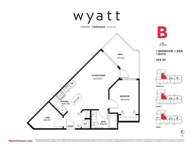 Welcome to the Wyatt! This is a stunning, Ground floor unit! Big one bedroom plus DEN! This is a Great Investment! This building is to be completed in 2019! comes with one parking! Great location! Very Central to a great family area! Call today for more Details!