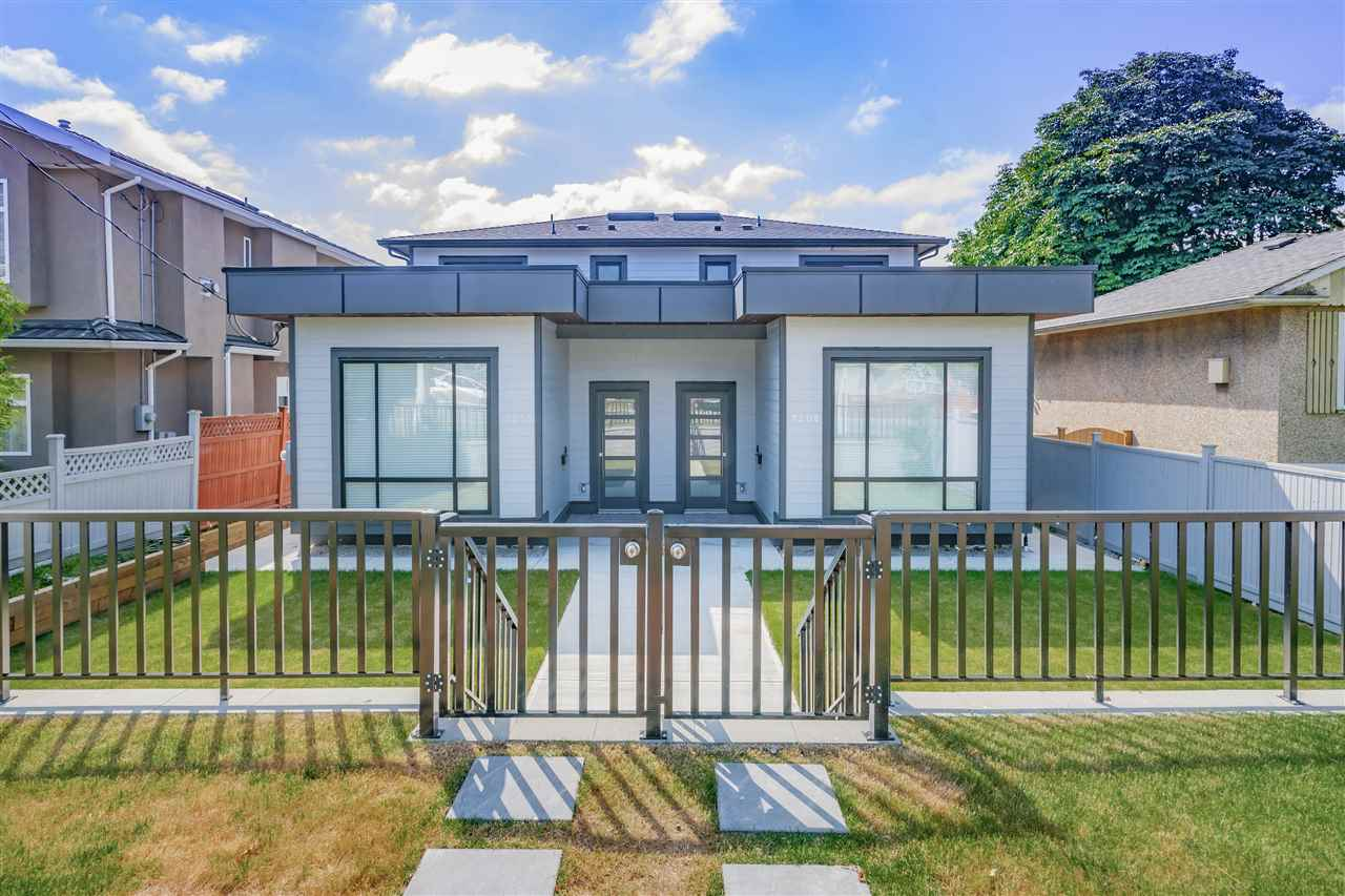 Newly finished side by side Duplex house located on a desirable quiet street 1 clock from Kingsway. Walking distance to schools, 10 minutes walk to Edmond Skytrain Station, Highgate Village and Metrotown is within 5 minutes driving distance.  3 bedrooms up and a large rec room with a full bathroom and separate entrance on the main floor, which could be used as extra bedroom. Wonderful and very practical layout equipped with high quality appliances, HRV system.  Beautiful bright color of cabinets and floors. Great design for all types of families. Ready to move-in. Price excludes GST. Public Schools: Marlborough Elementary / Cariboo Hill Secondary / Stride Ave. Community / Byrne Creek Secondary. Private Schools: Our Lady of Mercy / Saint Thomas More.  Must see! This is the dream home for you!!!