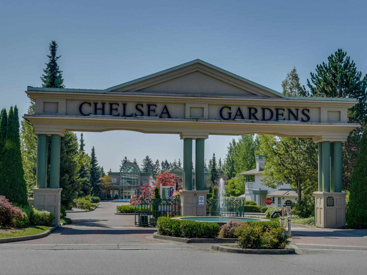 CHELSEA GARDENS! Award winning 23 acre gated Resort Lifestyle, adults 19+ offers a STUNNING Clubhouse, resident manager, pool, hot tub, English Pub, billiards, fully equipped exercise room, workshop, 3guest suites, RV parking & pets OK! Located in a fabulous location, steps to the clubhouse, SHOWS a 10+. Sunny & Bright 1,927 sqft ALL ON ONE FLOOR! Over sized windows, living room w/gas fireplace, family room, large covered balcony, views of trees & green space, 2nd balcony offers morning sun, room for the BBQ. Fresh white kitchen w/separate eating area & pantry. Large master, en suite w/shower & soaker tub. Radiant heat, full size washer/dryer & plenty of storage. JUST INSTALLED, BRAND NEW, beautiful light grey laminate flooring!! Healthy Lifestyle, Fantastic Community, REMARKABLE VALUE!