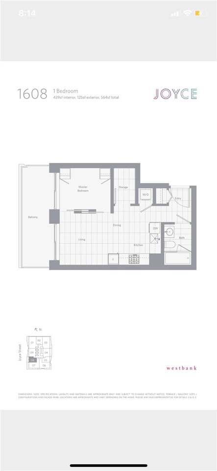 """Assignment of contract. - junior 1 bedroom city home at """"Joyce"""" by Westbank located next to Joyce-Collingwood Skytrain station, a master planned 30 storey community set for completion next year. Located on the 26th floor, don't let the square footage fool you this home offers a super practical layout with ample storage and a large patio extending the living space. With incredible views from Queen Elizabeth park to the North Shore Mountains and downtown to the airport, there is little doubt this space will become a focal point. Well served by transit and enjoys an abundance of greenspace, with great parks, shopping and all amenities available at your doorstep. Amenities include a fitness centre, lounge, library, music room & concierge. Adjoining outdoor patio offers a stunning oasis."""