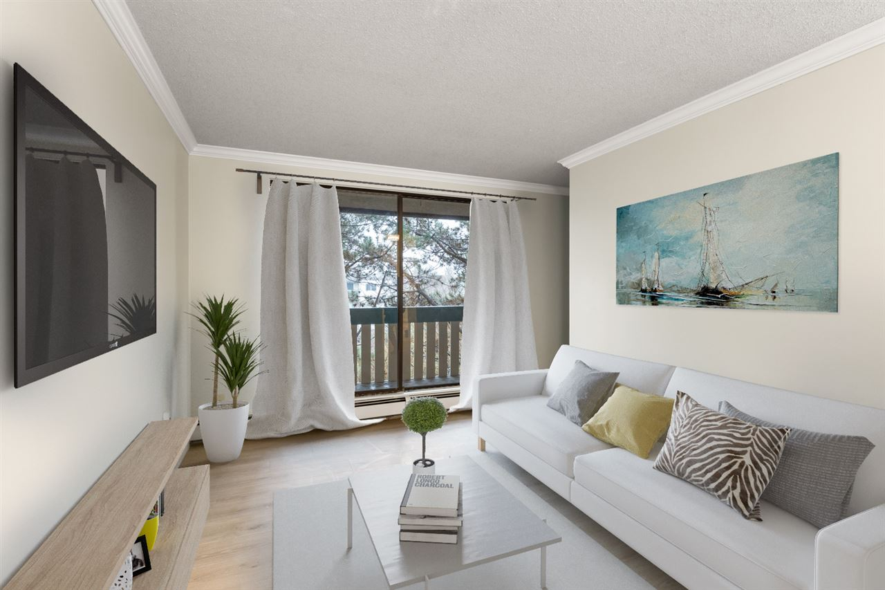 Why rent when you can own? This junior 1 bedroom is completely renovated & move-in ready. Situated on the top floor with fantastic view of tree lines from the balcony and conveniently located in central Richmond.  NEW quartz countertops, natural stone backsplash, white wood shaker cabinets, stainless steel appliances, undermount sinks, laminate & tile flooring, crown moulding, fresh paint, and plenty of storage. Well maintained building with newer roof (2012), re-piping and paint (2014). Amenities includes outdoor pool, sauna, hot tub, exercise room, party room and more. Ideal location close to Richmond Centre Mall, Skytrain, shopping, parks, buses, and Cook Elementary.  Excellent value in this popular and sought after neighbourhood.