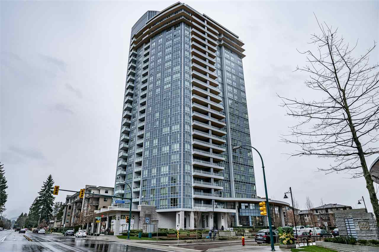 The Windsor by Polygon! A quality built exclusive high-rise concrete building located in the heart of Coquitlam's community of Windsor Gate. This 2 bedroom 2 bathroom 952 square foot H floor plan is rarely available and offers an excellent use of the space with bedrooms on opposite ends and high ceilings for a nice open concept. Beautiful white gourmet kitchen with integrated fridge and high end stainless steel appliances, quartz counter-tops and premium finishing throughout. Oversized windows bring in natural light while overlooking gorgeous views of the surrounding mountains and Glen Park. Set in a quiet setting yet just steps away from the Evergreen Line, Coquitlam Centre, T & T, Public Library, Douglas College and more. Residents also have access to the 18,000 Sq Ft Nakoma Clubhouse.