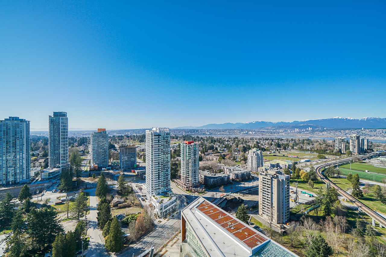 Enjoy the spectacular panorama VIEWS of the city, mountains and Fraser River!  Luxurious quality living style awaits you at this Flagship residence 3 Civic Plaza!  This two bed two bath high-end finishes unit features bright and open concept layout with floor-to-ceiling windows, gourmet style kitchen with s/s appliances including wall-mounted oven and microwave, quartz countertops, and beautiful cabinetry with lots of storage.  Perfect location in the core center of Surrey, steps to Central SkyTrain station, Surrey City Hall, Library, SFU, KPU, Recreation Center, Shopping mall etc.  A gorgeous premium hotel is here too, cafe and restaurant is downstairs.  One parking spot and one storge locker.