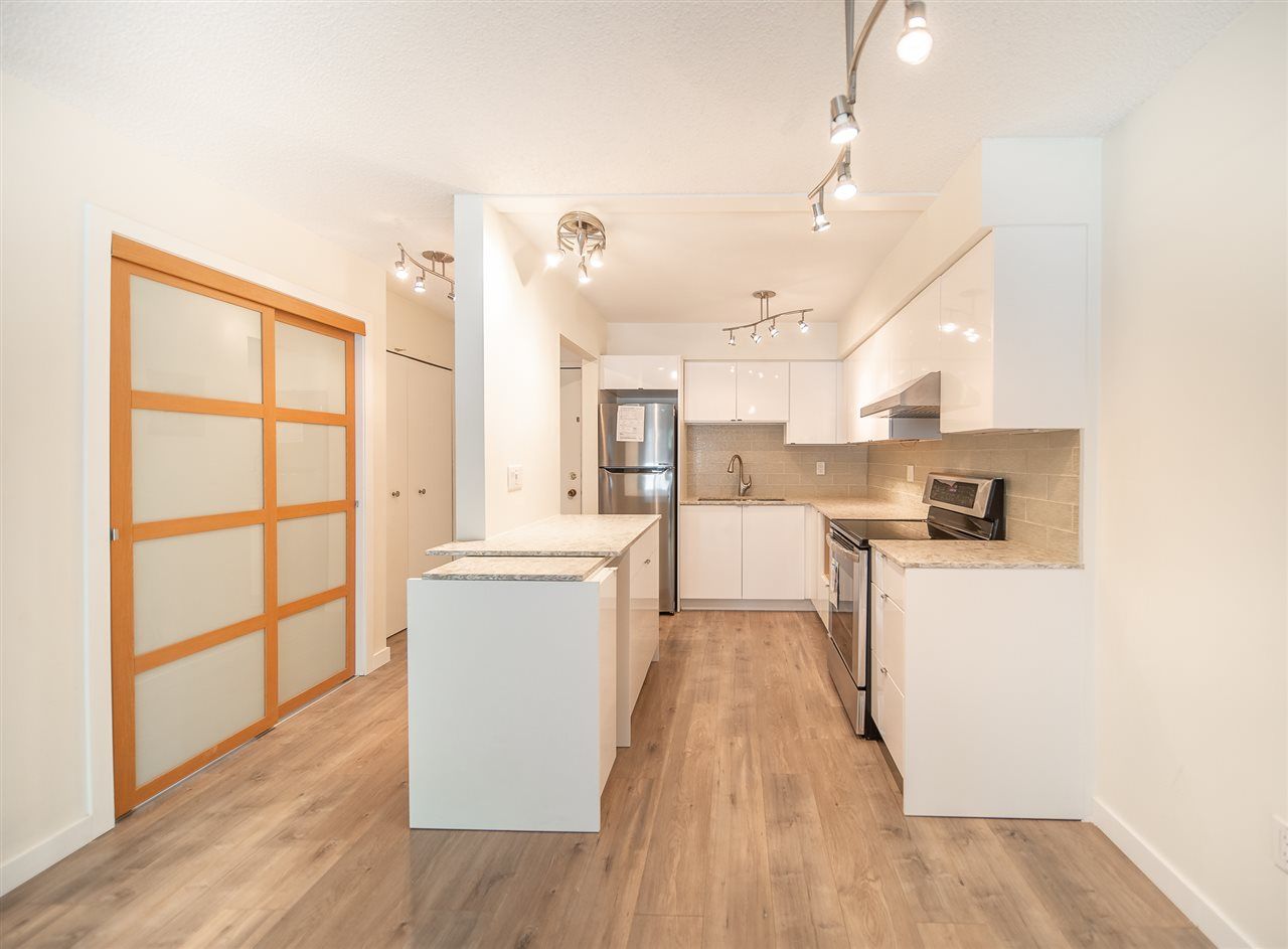 Fantastic like BRAND NEW 1 bed & den suite in Mariner Place building, located in the heart of Hastings-Sunrise, close to all sorts of amenities. Building has been completely upgraded: full envelope replacement, roof, windows, balconies, railings, exterior lighting & update plumbing. All under warranty & recently completed. This unit has just been renovated with new flooring, new kitchen cabinet, new bathroom, all new counter top, new painting, new lighting, new stainless appliances & much more. Enjoy the super location just a short drive to Downtown Vancouver, walk to nearby restaurants, parks, schools. Rentals and pets permitted. Home includes 1 parking. Ready to move-in! OPEN HOUSE: Sat Oct 31 & Sun Nov 1, Sun 2-4pm.
