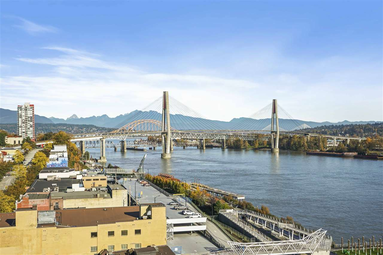 Welcome to the highly sought after Trapp + Holbrook! A very well built modern building in in the heart of New Westminster Downtown. Literally only steps away from Sky-Train, waterfront pier, shops, restaurants and entertainment. The convenience of this location cannot be emphasized enough! Enjoy the phenomenal unobstructed views that has it all: water, city mountain, and bridge! This one bedroom unit comes with in-suite laundry, cabinetry, quartz counters, glass tile backsplash and a stainless steel appliance package. Fantastic building amenities: Gym, party room, roof top deck are a bonus! Great for first time home buyers and investors! One parking spot and one storage (which was separately purchased) included. Pets and rentals are allowed. LOCATION, VIEWS, AND CONVENIENCE.