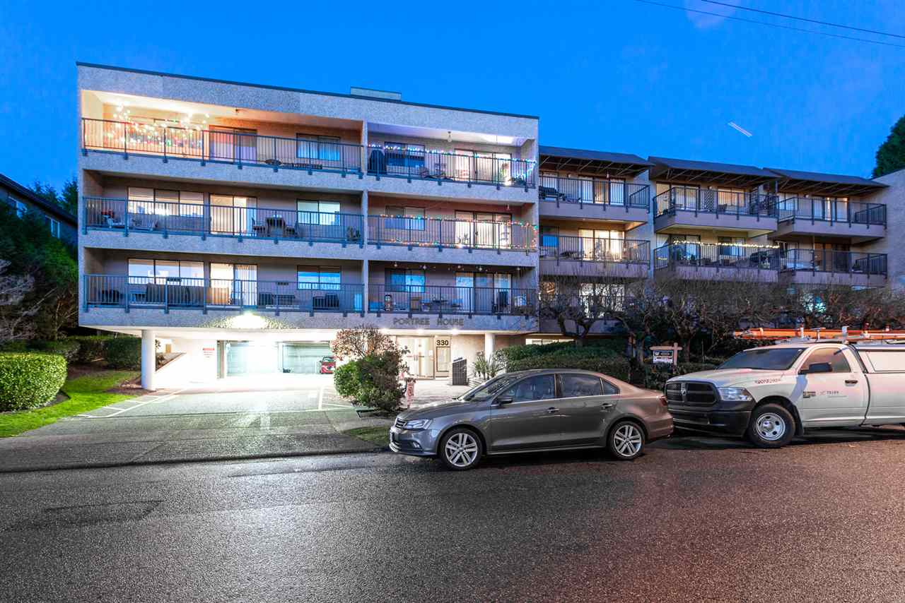 Presenting Portree House ? This bright, south-facing unit features a large balcony perfect for BBQ?ing while you enjoy views of the Vancouver skyline! This move-in ready home offers updated appliances, functional kitchen and a spacious floorplan perfect for first time buyers and investors. Nothing to do but move in, but plenty of opportunity to add value and make it your own.  Enjoy the feeling of a quiet residential neighbourhood next to Hamersley Park while being blocks from the hustle and bustle of the Shipyards and Lower Lonsdale. One parking, one locker, cats allowed (sorry no dogs), and RENTALS ALLOWED! Call today to book your private viewing!