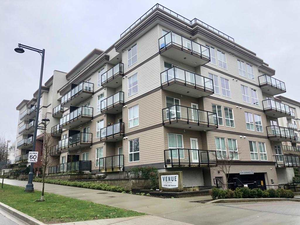 VENUE by TIEN SHER HOMES. Beautiful 2 bedroom Above ground corner unit. 9' ceiling, freshly painted, new flooring & new blinds (Mar2021). In suite full size washer dryer. Fully equipped fitness facility, 2100 sf rooftop deck with BBQ outlets, firepits & social lounge, 10 min walk to Gateway Skytrain Station. Close to Surrey Central Mall, SFU, Library and T&T. Includes 1 parking stall and 1 storage/bike locker. 5-storey bldg.