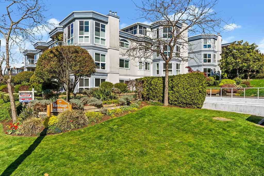 Pet friendly Light & bright 2 bedroom, 2 bath unit located on the west side of the building WITH some OCEAN VIEW (quiet and private).  This well-designed 1056 SF unit provides a spacious master (could accommodate king size bed) and a walk-in closet plus ensuite. Spacious 2nd Bedroom could easily be a bright home office. Large original kitchen with an abundance of cupboard space adjacent to large dining room. West facing Living room has gas fireplace insert and water and park views, and newly installed windows (2019). Large laundry has room for both washer/dryer & extra storage. No age restrictions. A short walk to the beach, restaurants and shops, this is a great opportunity for an easy West Coast living style! Excellent unit mostly in original condition with a great location!
