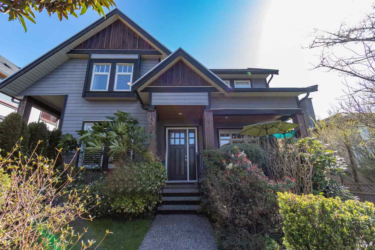 Feels like a house, SPACIOUS/PRIVATE Craftsman Style ½ Duplex in heart of North Vancouver: 3 levels, 6 bed/ 4 bath, 2500+ SQFT OR Lower Level can be in-law suite w/ 2 large beds, full bath w/ separate entrance. Features include: California Shutters; radiant in-floor heating; hardwood floors; central vac sys.; high ceilings; huge windows; security system; & large open kitchen w/ granite counters & S/S appl. Lots of space to entertain on MAIN level w/ 2 living room areas both w/ gas fireplaces while enjoying covered front porch overlooking the beautifully landscaped yard. UPPER LEVEL has 3 large beds, 2 baths overlooking grand entrance. Single Detached Garage + 1 open parking off lane. Walking distance to elementary and high schools, parks, trails & shopping. Book your appointment today!