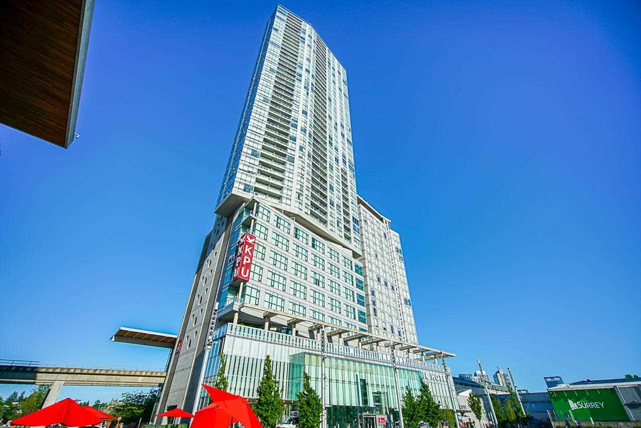 The Landmark in Central! Come to enjoy surrey's new metropolitan lifestyle at 3 Civic Plaza. Surrounded by central library, recreation center, city hall, universities and hundreds of restaurants. One stop shopping mall nearby plus sky train and bus station steps away from your home. This unit is over looking west panoramic views from south to North shore mountains. One bed room/one bath room with in-suite laundry. Over-height ceilings, covered balcony, s/s appliances, quartz counters. Tenanted and nice tenants would like to stay. 1 parking and 1 storage locker allocated to the unit. Don't miss out and call for your private viewing.