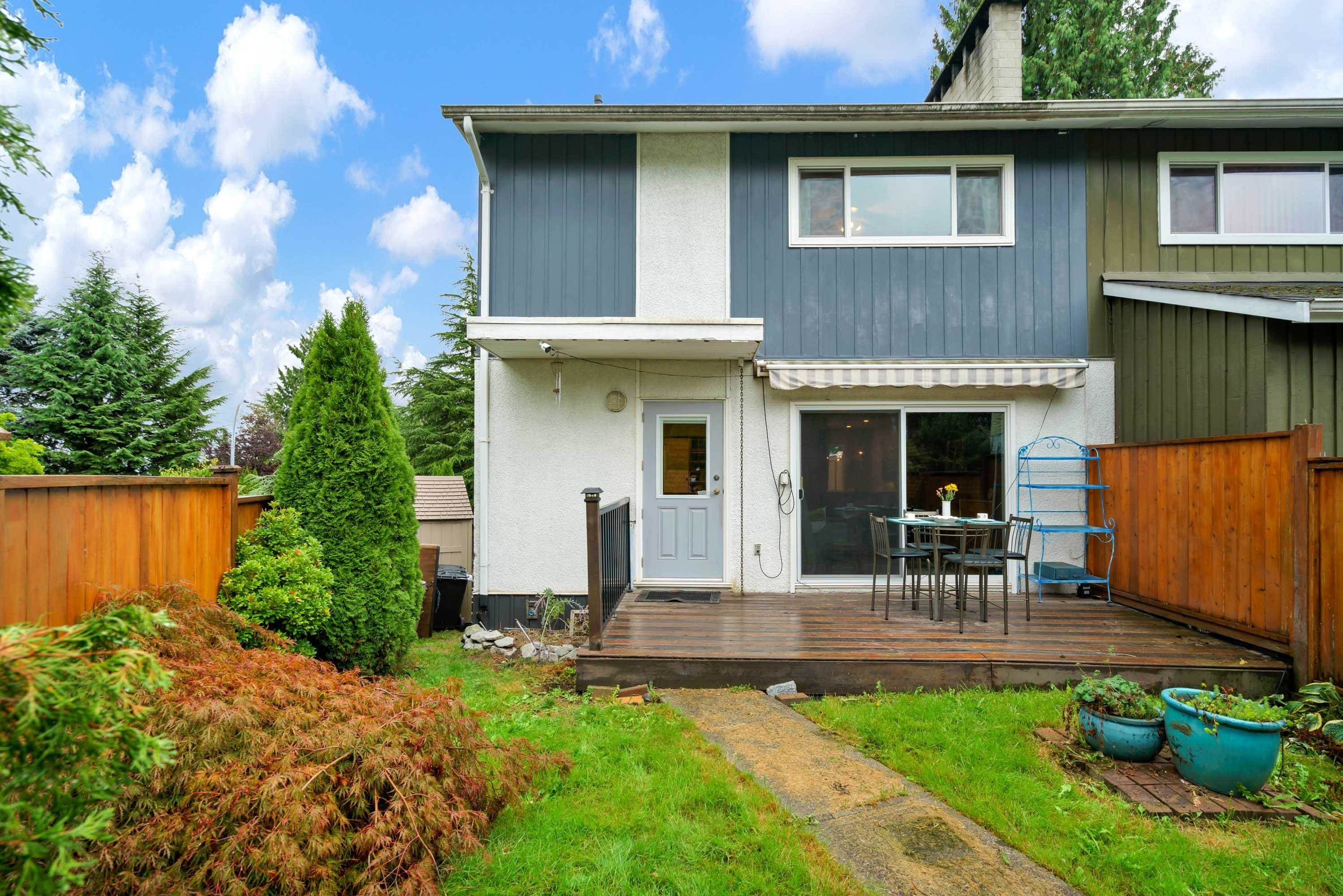 Bright and beautifully updated row home nestled in the heart of Port Coquitlam.  Boasting four bedrooms, two bathrooms, a massive private fenced yard for the kids to play and an incredible view while sipping your morning coffee overlooking the Fraser River and Mt. Baker. Quiet end/corner unit has a 3892.75 ft² lot, updated kitchen, flooring, newer windows, roof was replaced approx 6 yr ago. Greenbelt in front of the property is grandfathered in.  Own your own property without strata fees.  Basement has potential for two bedroom with separate entry, plans were previously drawn up, bathroom is roughed in.  Close parks, walking trail and K-12 schools.