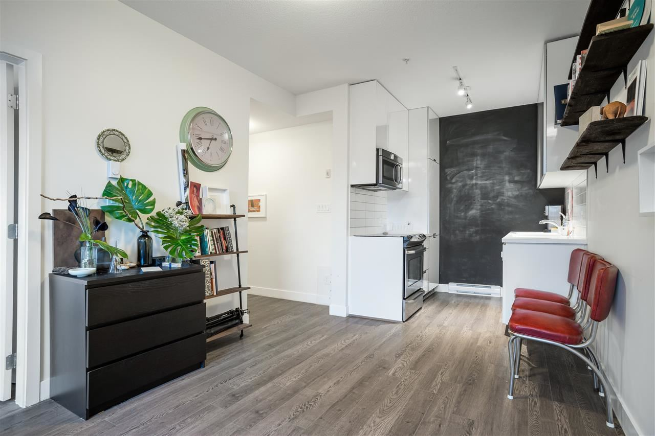Welcome to SEQUEL 138?a modern + affordable condo in the heart of it all! This is a RARE OPPORTUNITY to own a Vancouver address for under $425K and is a MUST-SEE! At 693 sqft, this 1 Bed + 1 Bath suite is efficient yet spacious featuring 9? ceilings, sleek laminate flooring throughout & beautiful oversized windows for an abundance of natural light + views of the mountains and city. Kitchen highlights include integrated Blomberg fridge, microwave, stove + washer/dryer, and high-gloss cabinets. Enjoy the central courtyard w/ shared garden plots, harvest table & BBQ. Gated complex for peace of mind. No car need as you?re walking distance to some of the city?s most unique shops, cafes, restaurants + galleries in Chinatown, Gastown & Crosstown. Transit nearby. Pets + rentals OK. 1 Locker incl.!