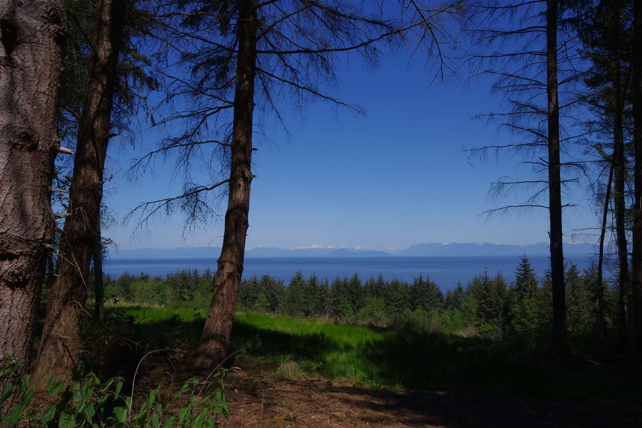 Ocean Views of Georgia Strait from this 6.02 acres of forest backing on to Bodega Ridge Park. Driveway roughed in to view and potential home site. Priced below the assessed value.