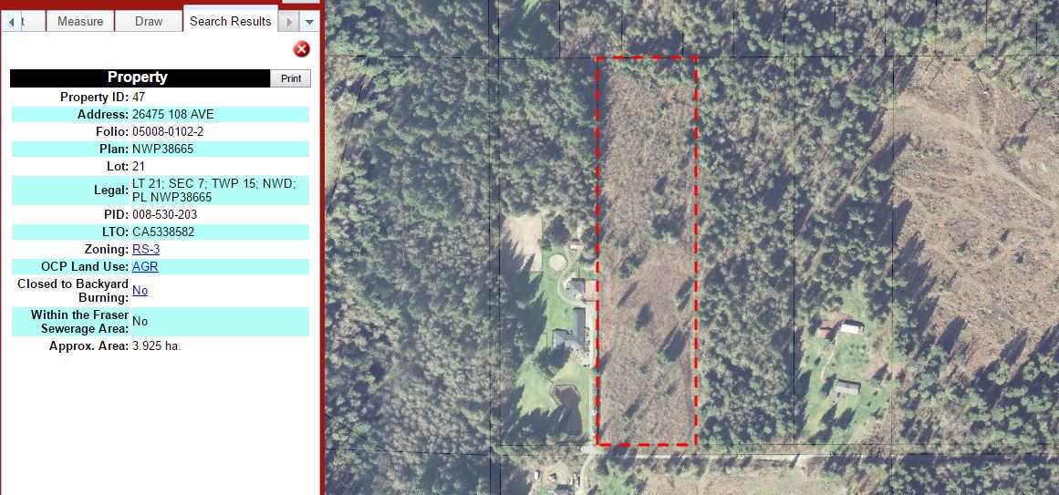 9.71 acres facing South with amazing potential to build dream home and out buildings. RS3 zoning allowing for equestrian use. Area of executive homes, horse trails and Whonnock lake. View photos to see aerial view.