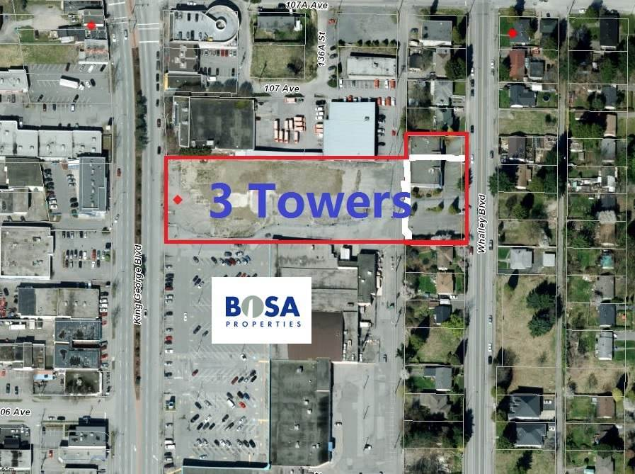 Development site in town (enter Surrey, right on King George Blvd beside Bosa Shopping Center property). 2 parcels 10662 King George & 10677 Whalley Blvd total of 10,2450 SF.