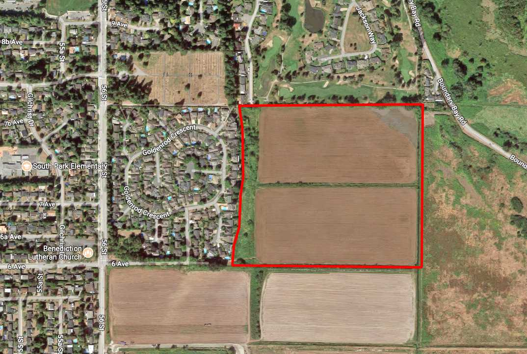 This beautiful 45.65 acres of farmland has lots to offer! The subject property is located in heart of Tsawwassen near 56th Street. This location provides direct access to Point Roberts USA and Highway 17 to the ferry terminal. It is only minutes away from Save-On Foods, Tsawwassen Mills Shopping Centre, Splashdown Waterpark, golf course and many other amenities nearby. This property is excluded from ALR.