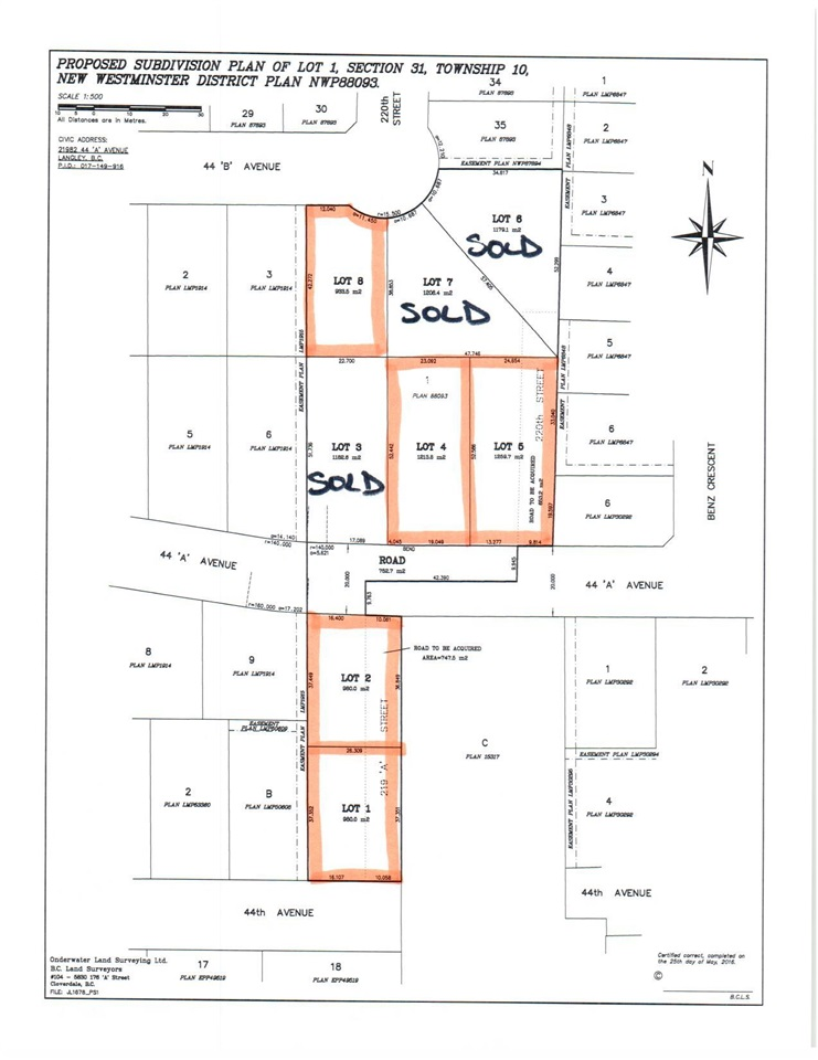 INCREDIBLE FIND - BUILD YOUR DREAM HOME! Beautiful level 1/4 to 1/3 acre building lots with no creeks.  Lot 1 is 10,549 sq/ft and in the 21900 block of 44 Ave. Fantastic neighbourhood in upper Murrayville. City water and city sewer. Area of high end homes. Minutes to everything. Anticipated to be ready Jan 2018. Get your offer in now and your plans ready. Don?t hesitate call now!