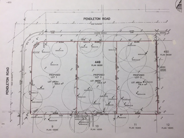Total Lot size: 0.566 acres. Hardly find 3 rectangular lots after subdivision on west side of Richmond on prestigious Pendleton Road - approx sizes: a) corner lot 73 x 120 and b) 65.6 x 120 and c) 65.6 x 120. Please refer proposed subdivision plan in picture section for exact measurements of each lot.  North and South exposure.  For the rezoning requirements, 3rd reading is passed and if the developer pays and does all the works, the 4th reading will be forthcoming.  Pride to own this parcel of land for holding purposes or build 3 luxurious homes in future.  Buy now and start working on your building plans right away.  Please call for details re saving of property transfer tax.