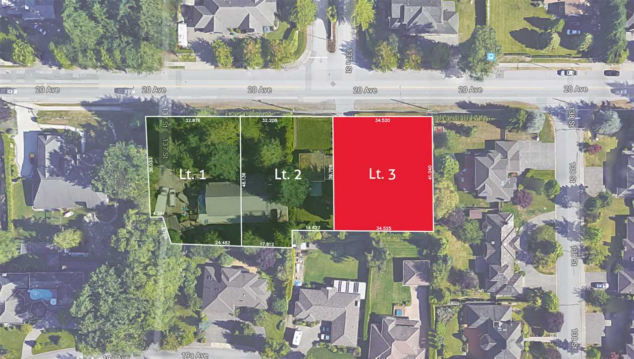 Bell Park - Exceptionally located and rarely available, south facing, 14,825sf, RH-G building lot. Excellent opportunity to build your dream home in one of South Surrey's most sought-after locations. Square, level lot. Approximate lot dimensions: 113'x135'. Proposed subdivision plan supports 2 storey plus in-ground basement home. Two other adjacent 15,000sf lots also available. Subdivision currently in process with PLA in place. Property is centrally located with nearby parks, schools, shops and recreation within walking distance or short drive. (Please do not walk property without permission). Call today for more information!