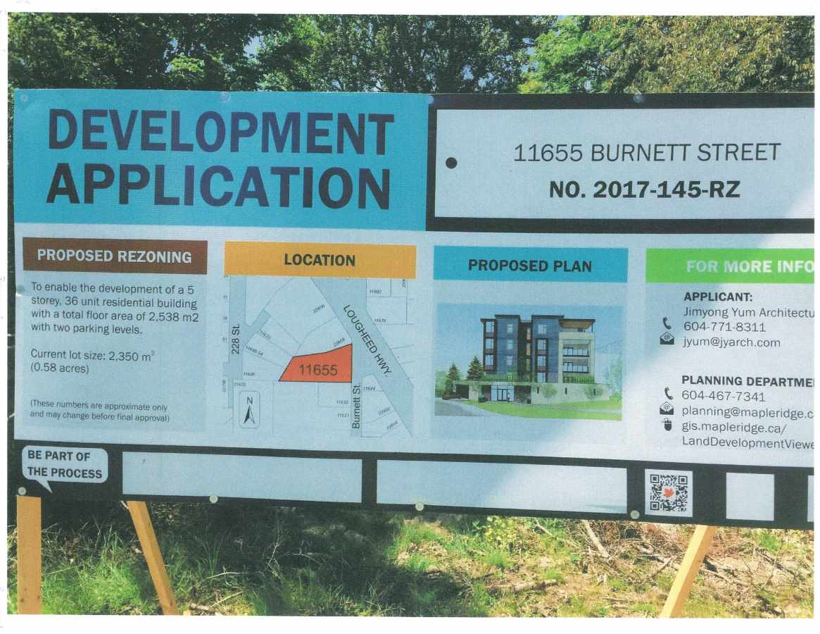 Prime Apartment development site in Maple Ridge Town Core Area. Right on corner of Lougheed Hwy & Burnett St. Propose to be rezoned to RM-2 Zoning at 2.0 FSR which allows 5 storeys. 36 units and a total floor area of 27,600 sf. Close to city center, public library, A&W, McDonald's and China Kitchen. All services are available at lot line. EXCELLENT OPPORTUNITY for small project developer.