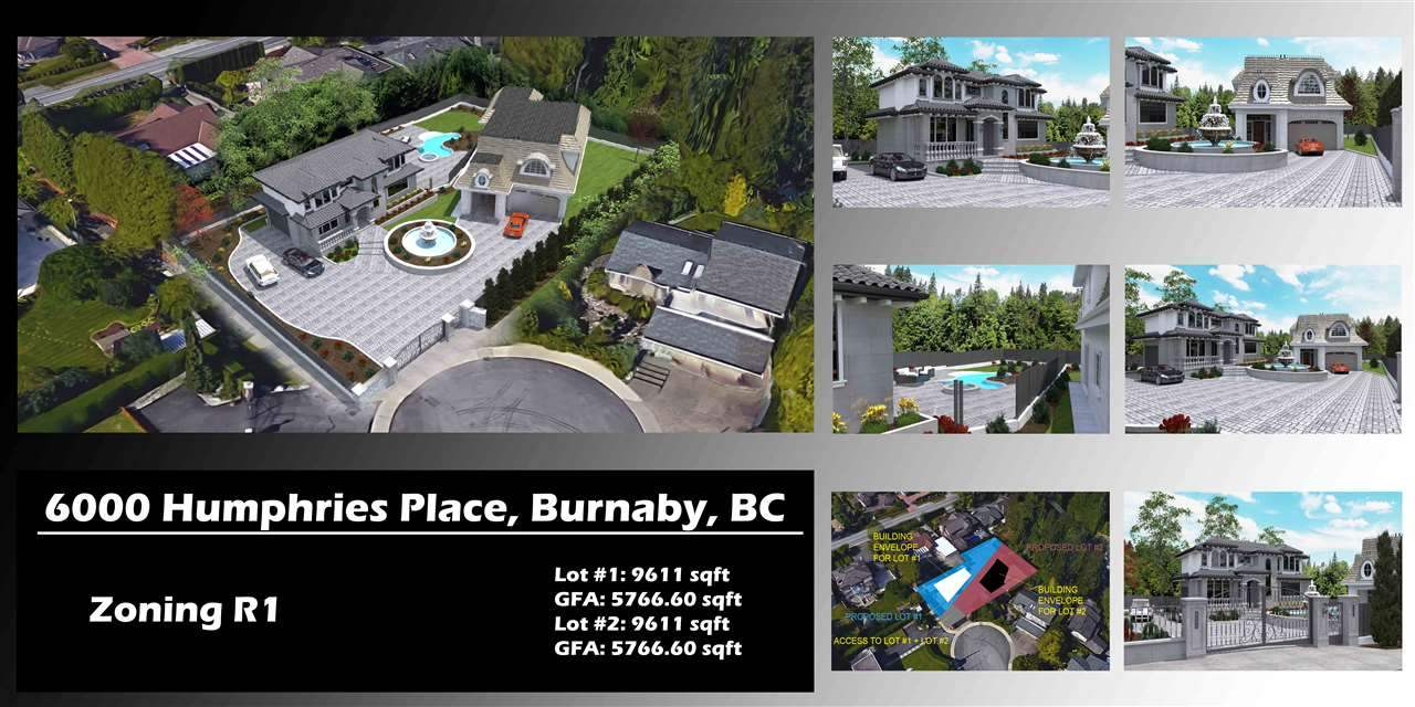 One of a kind R1 zoned site in prestigious Buckingham Heights. Lot being Subdivided into 2 parcels (9611 sq ft each). Located on a quiet Cul-de-Sac with Beautiful Views of the North Shore Mountains, Downtown, City Skyline, and Deer Lake. The site is Filled, Serviced and includes High End Stamped Concrete and aluminum fencing, yard lights, & roughed in retaining wall lights, Remote Control Gate with rough in for a security system panel and intercom, electrical kiosk, generator hut with water hookup. This is not your typical subdivision. Unique opportunity for investors and developers alike. You have to see it in order to appreciate the work that has gone into the site. Contact listing agent for an information package.
