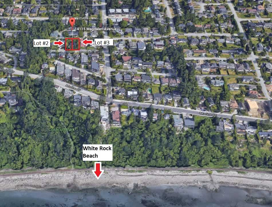 Great opportunity to build your ocean view dream home in White Rock! This 6300 sq ft lot is located on a no through quiet road in a great location on the West Side of White Rock. Located in the Semiahmoo Secondary and Bayview School catchments it will always have good re-sale value as well. Survey, zoning regulation documents and City of White Rock servicing requirements available upon request. Can be sold with or without next door property located at 14115 Magdalen Ave which is the same size lot. Call for details.