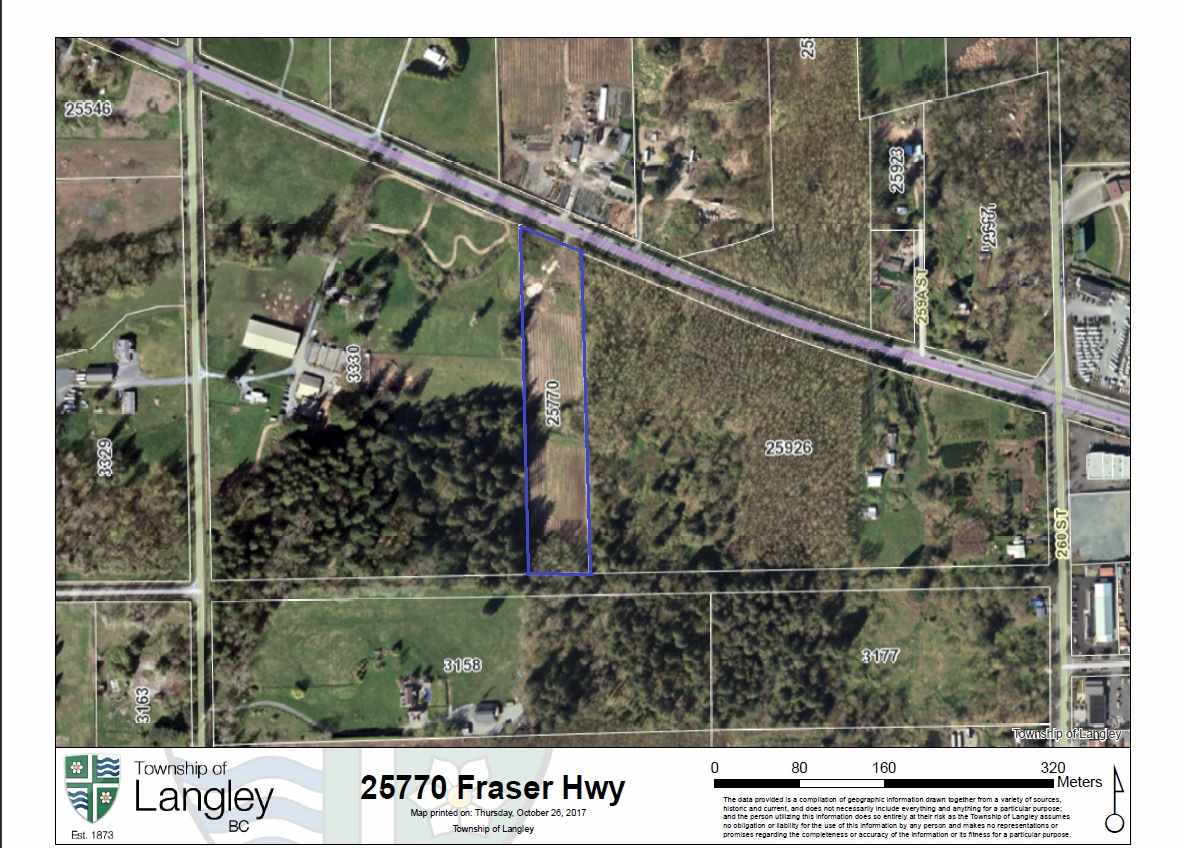 Fraser Highway - Highly visible 4.53 acre RU-3 zoned ALR property within the Township of Langley. The land is rectangular in shape extending southward off Fraser Highway with approximately 200' of road frontage. Property was previously used as a blueberry farm and offers a wide amount of future uses with the RU-3 zoning.
