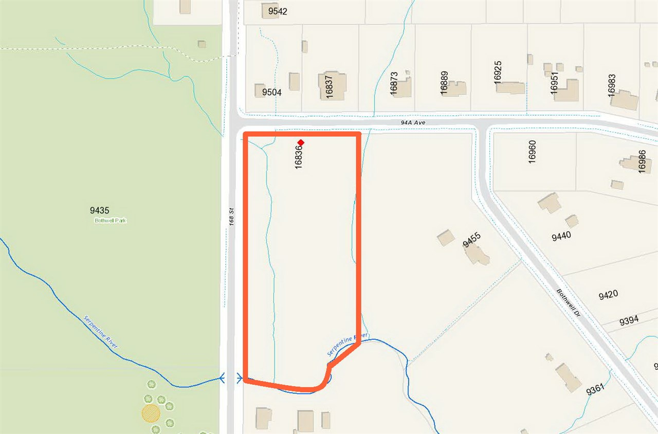 5.78 acres (342'x736') double zoning RA+A1 (Residential Acreage+General Agriculture). Not in ALR. Corner of 168 street and 94A Ave. RA zoning is 1.37 Acres (59516 SF) and A1 zoning is 4.41 Acres. Creeks running through the property offers tranquil and private environment. Build your mansion to accommodate a big family. Across street from Bothwell Park and Tynehead Park. Short drive to rec centre, Hwy access and shopping.