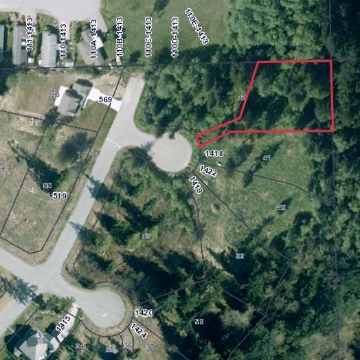 1/2 acre lot at the top of Harry Road in the Bonniebrook Area, Phase 2 of the Georgia Crest single family home properties. The panhandle access gives this lot excellent privacy. Underground services (hydro, water, natural gas, telephone and cable). Approved health covenant site. Neighbourhood of quality homes, mandatory building scheme in place.