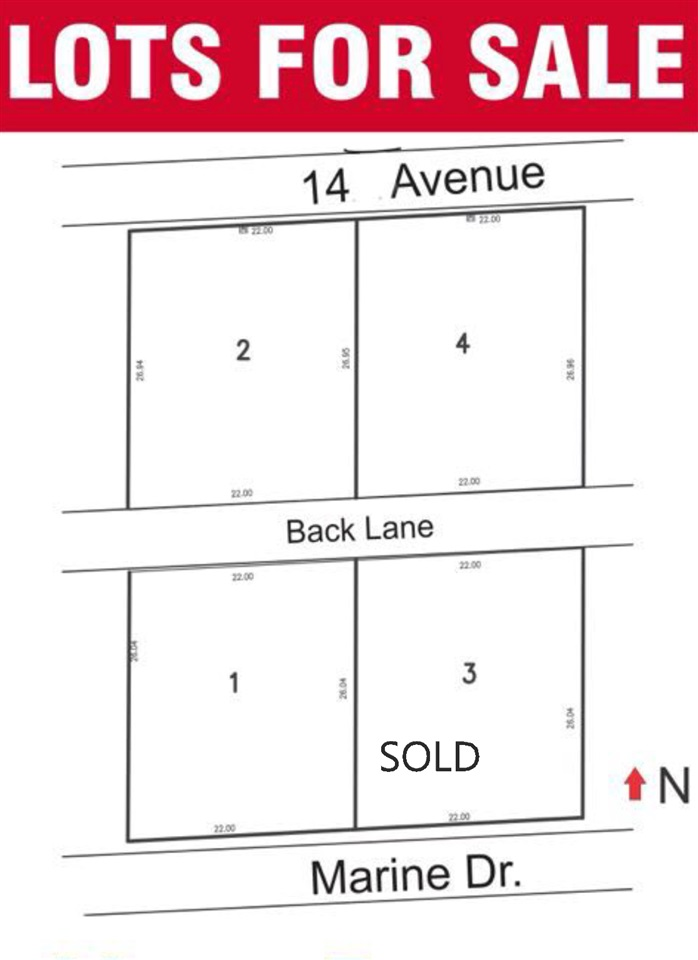 ~~ Ocean View Lots ~~ 4 lots subdivision and servicing in process. Lots will be fully serviced by approximately July 2018 and shall accommodate 2 Storey w/Bsmnt (3 level) homes. Next door Brand New Home built on a similar size lot (13531 Marine Drive) for sale $4.2 million. Call for details.
